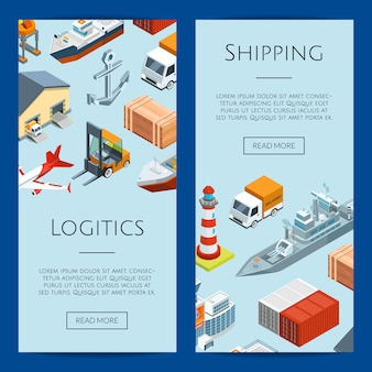 Isometric marine logistics and seaport web banner templates