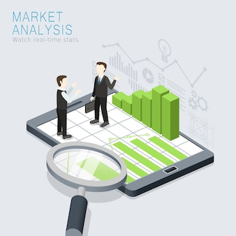 Isometric  of market analysis concept