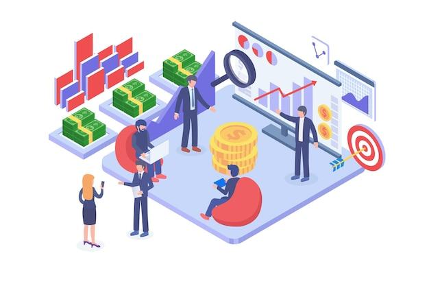 Isometric market and profit analysis vector