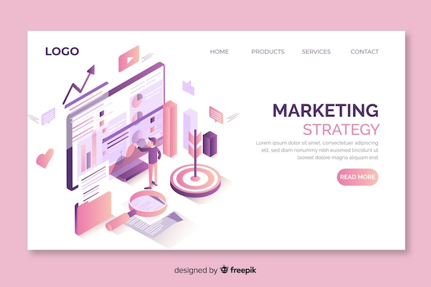 Isometric marketing approach landing page