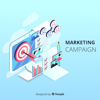 Isometric marketing campaign background