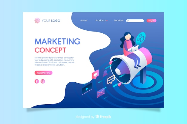 Isometric marketing concept landing page