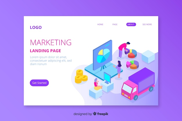 Isometric marketing landing page illustrated