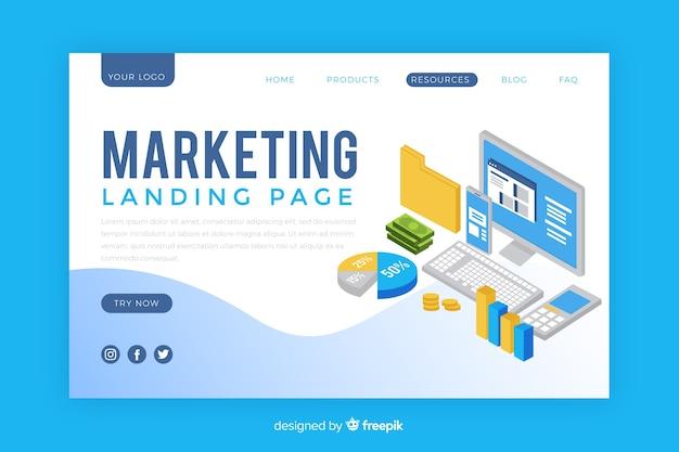 Isometric marketing landing page template