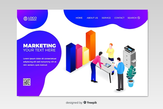 Isometric marketing landing page template