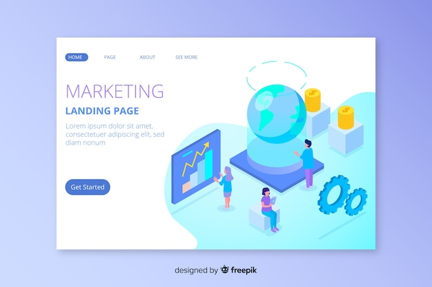 Isometric marketing landing page