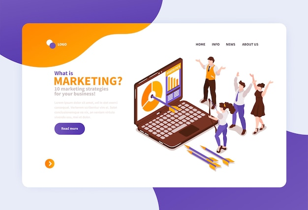 Isometric marketing strategy illustration for website or landing page