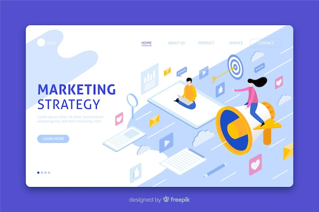 Isometric marketing strategy landing page