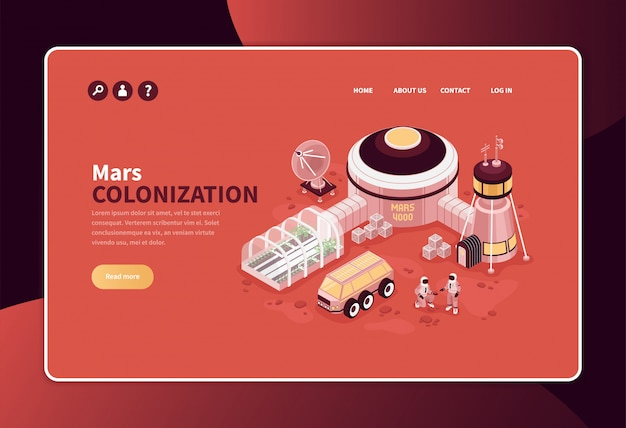 Isometric mars colonization concept banner website page design with editable text links and exterrestrial base image