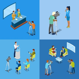 Isometric mass media concept with reporters and journalists.