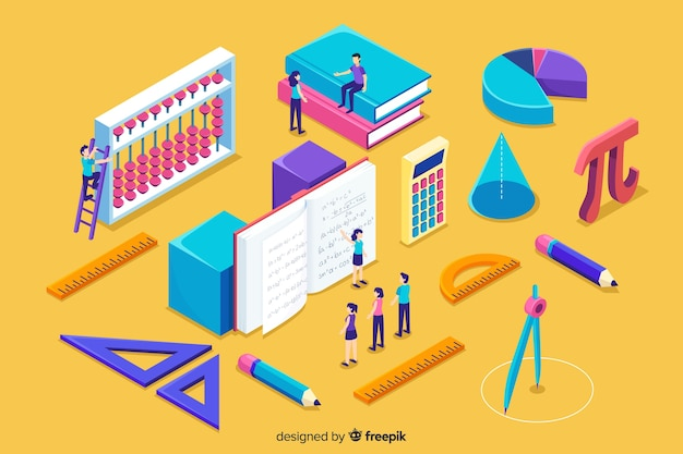 Isometric math concept background