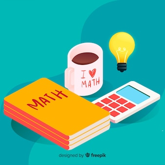 Isometric math elements background