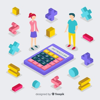 Isometric mathematics concept with algebra equations