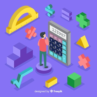 Isometric mathematics concept with calculator