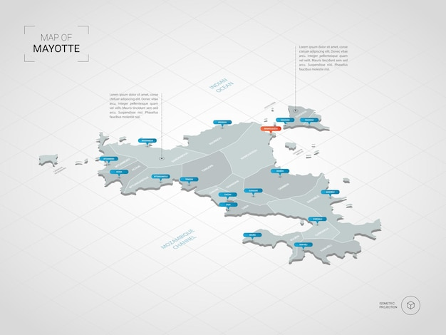 Isometric   mayotte map. stylized  map illustration with cities, borders, capital, administrative divisions and pointer marks; gradient background with grid.