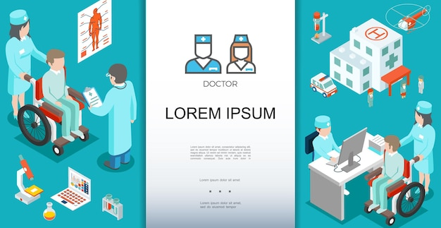 Изометрический шаблон медицинской помощи с врачом, консультирующим пациентов и иллюстрацией тематических элементов