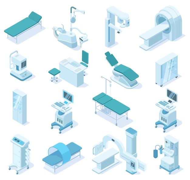 等尺性医療診断、病院の健康機器。医療スキャナーmri、x線スキャナー、歯科用椅子のベクトル図。救急車技術機器。医療用x線診断およびmri3d