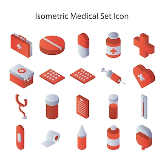 Isometric medical set icon