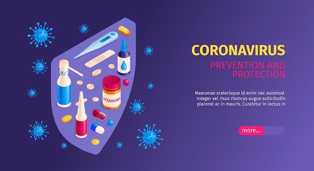 Isometric medicine andcoronavirus horizontal banner