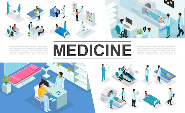 Isometric medicine composition with doctors patients nurses medical diagnostic procedures mri scan pharmacy laboratory research interior elements