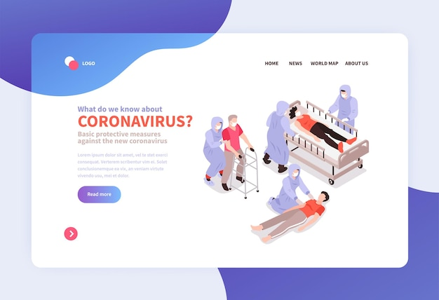 Isometric medicine and coronavirus banner website