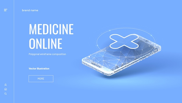Isometric medicine online background with polygonal wireframe style
