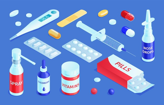 Isometric medicine pharmacy set with isolated medical products pharmaceutical drugs and pills with drops