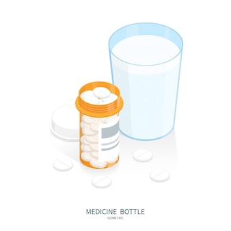 Isometric medicine pills bottle, glass of water swallow pills vector