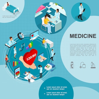 Isometric medicine template with medical consultation doctors patient in hospital ward smartwatch mobile laptop hand holding heart tonometer stethoscope