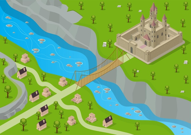 Isometric medieval castle surrounded by a fortress with a river, bridge and a village across from it.