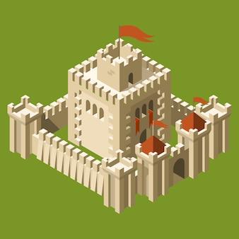Изометрический средневековый замок с крепостной стеной и башнями
