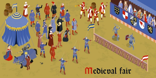 Isometric medieval horizontal composition with medieval fair headline and group of people on square