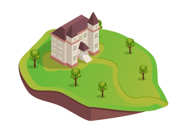 Isometric medieval house on the hill with trees