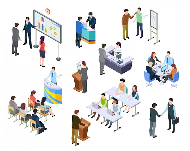 Изометрическая встреча. деловые люди на презентации конференции.