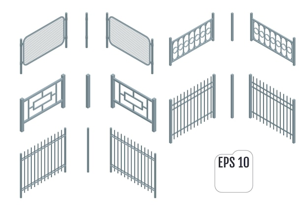 等尺性の金属フェンスセクション。