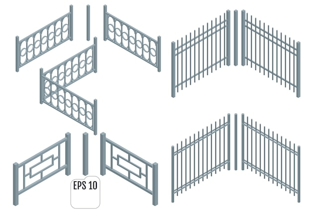 Isometric metal fence sections.