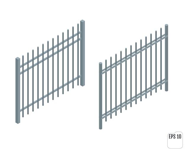 等尺性の金属フェンスセクション。フェンシングコンストラクター。さまざまな形のフェンス。建物とランドスケープデザインの要素。
