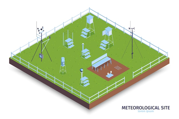 Isometric meteorological center composition with view of fenced green area and weather observing equipment with stairs