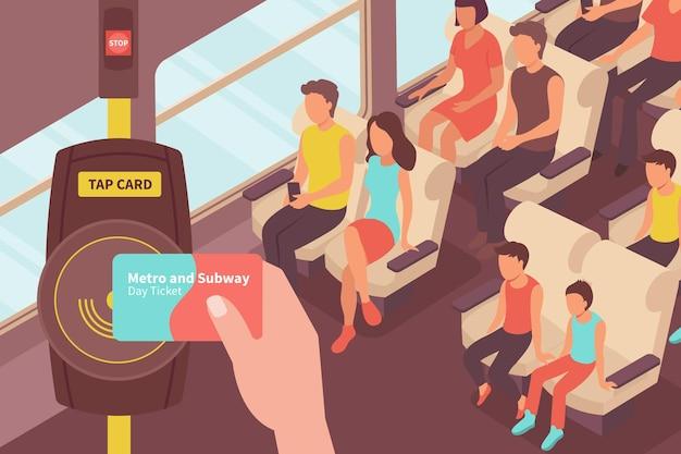 Изометрическая иллюстрация оплаты метро