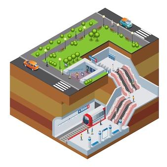 Изометрические концепция станции метро