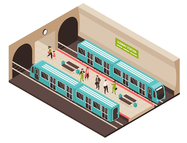 Isometric metro subway illustration