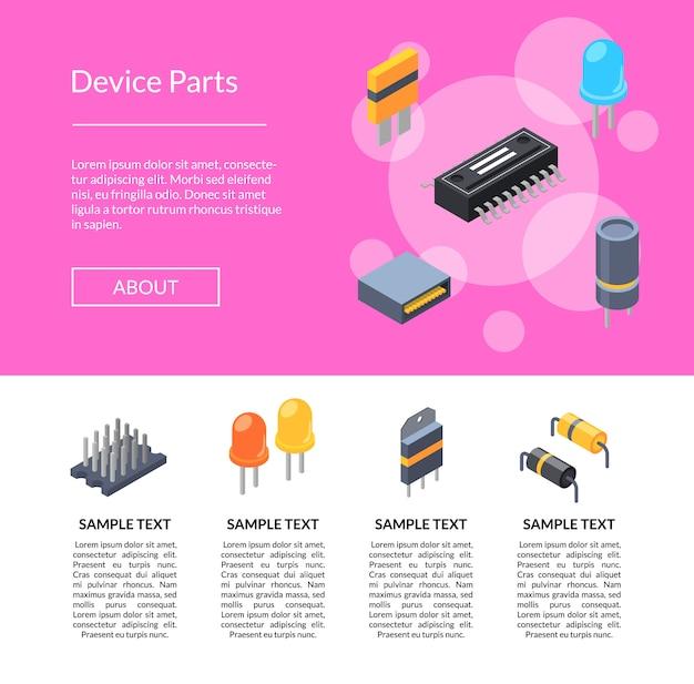 Изометрические микрочипы и значки электронных частей