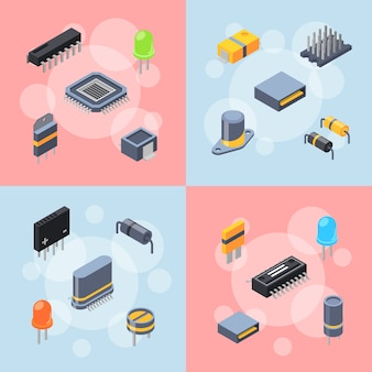 Isometric microchips and electronic parts icons infographic concept