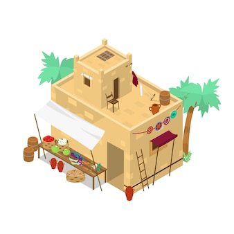 野菜の入ったバスケットを備えた等尺性中東市場の建物
