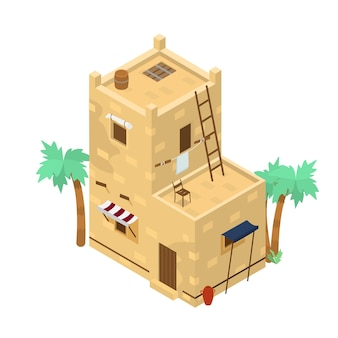 Isometric middle eastern two-storey  building with lots of details. mud brick house. traditional arabic architecture.