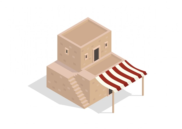 Isometric middle eastern two-storey building