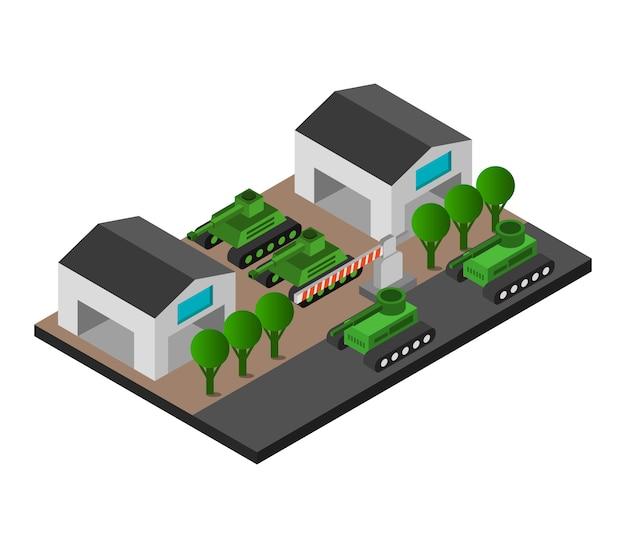 Isometric military barracks