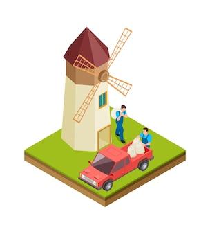 Изометрическая мельница. колхозники, рабочие с мешками муки. мужчины в сельскохозяйственной форме с красной иллюстрацией вектора грузовика фермы. сельское хозяйство 3d, парень рабочий приносит мешок