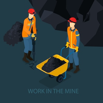 Isometric mine industry concept