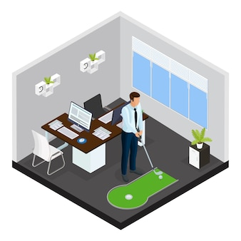 Isometric mini golf template with businessman playing game on small course in office